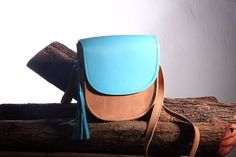 Mini Cross Body Leather Bag in Nude and Aqua Blue by marchandcraft
