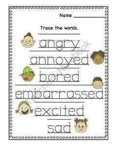 Preschool Printables: All About Feelings Printable Stomach Wrap, Name Tracing, Preschool Printables, Feelings, Words, Drawings, Sketches, Drawing, Portrait