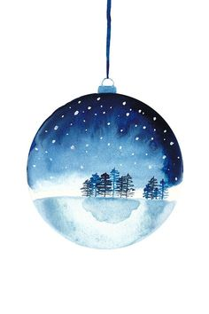 Dessin à l'aquarelle d'une boule avec un paysage de neige - parfait comme cadeau - Peinture Aquarell Zeichnung einer Christbaumkugel mit Schneelandschaft - perfekt als Gesc. Simple Christmas Cards, Homemade Christmas Cards, Christmas Tree Cards, Christmas Baubles, Christmas Art, Handmade Christmas, Christmas Landscape, Holiday Cards, Winter Landscape