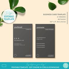 DIY Editable Minimal Business Card Template 2 Sizes | Etsy Minimal Business Card, Modern Business Cards, Business Card Design, Soap Labels, Candle Labels, Editable, Label Templates, Custom Fonts, Tag Design