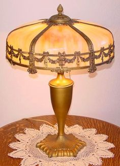 antique slag lamps | This six panel bent slag glass lamp is in excellent original condition ...