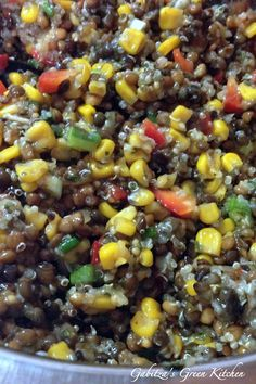 A delicious lentil quinoa salad with corn salsa from Trader Joe's Lentil Recipes, Salad Recipes, Vegetarian Recipes, Healthy Recipes, Delicious Recipes, Healthy Foods, Tasty, Lentil Quinoa Salad, Lentils And Quinoa