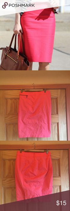 Fun and flattering bright pink knee length skirt Mossimo pencil skirt in like new condition. Size 10 but fits a little small in my opinion. Great fabric and fully lined, hits slightly above the knee. Mossimo Supply Co Skirts Pencil