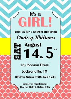 Girl Baby Shower Invitation on Etsy, $12.00