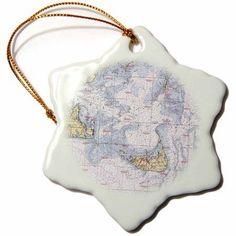 3dRose Print of Nautical Chart Of Nantucket Island, Snowflake Ornament, Porcelain, 3-inch