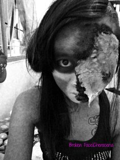 I practice make up effect with zombie style.. half broken face. and set BW effect on editing photo.. still beginner..