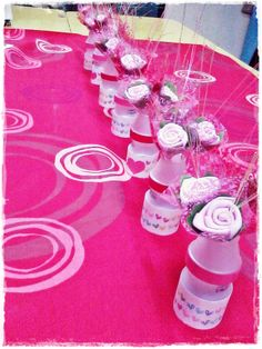 Made from Yakult bottles. Used for a table top decoration :)