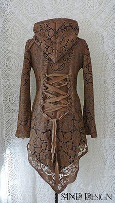 QUAKER LACE JACKET cardigan fleece crochet gypsy by SINDdesign