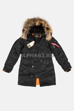 Женская куртка N-3B W Parka Black\Orange Nat.Fur