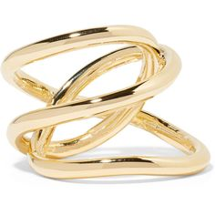 Jennifer Fisher Small Abstract Line gold-plated ring (€225) ❤ liked on Polyvore featuring jewelry, rings, accessories, gold, abstract jewelry, wrap-around rings, wrap ring, stackers jewelry and gold plated jewelry