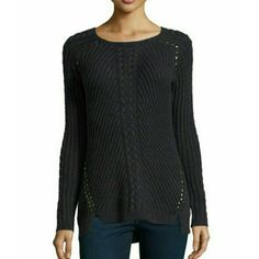 Philosophy Cable Knit Studded High-Low Sweater. Rocker chic studded high low sweather in black. Philosophy Sweaters Crew & Scoop Necks