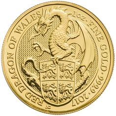 The 2017 UK Queen's Beasts The Dragon 1oz Gold Coin is the third release from the exclusive bullion range from The Royal Mint, featuring an original reverse design. The coin's reverse features a stylized rendition of the Red Dragon of Wales, it's talons clutching a shield. The reverse also shows details of the coin's weight, fineness and year-date.  The obverse design depicts the fifth portrait of Queen Elizabeth II, and the monetary denomination of £100.
