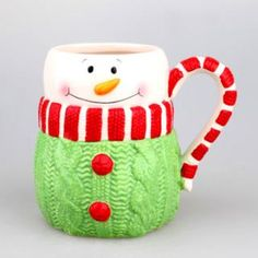 Winter gift ceramic mug sweater snowman design, cute shape cup gift from migodesigns:
