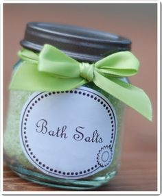 Make your own bath salt or salt scrubs and pack them in a baby food jar. Print your jar lables from home and choose your color ribbon of choice.