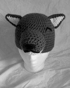 Crochet Wolf Hat by TheCuddlyCephalopod on Etsy Crochet Wolf, Crochet Hats, Wolf Hat, Funny Hats, Hair Bows, Headbands, Beanie, Trending Outfits, Unique Jewelry