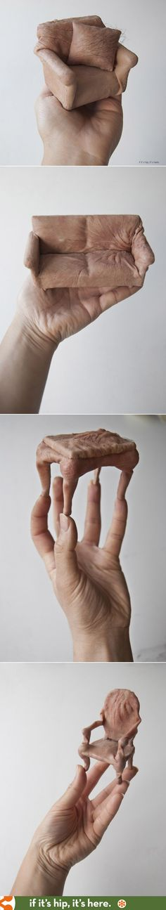 These flesh-like miniature furniture sculptures, complete with hair, are super creepy.