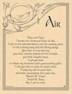 AIR INVOCATION Parchment Page for Book of Shadows! pagan wicca witch in Collectibles, Religion & Spirituality, Wicca & Paganism Magick Spells, Wicca Witchcraft, Elemental Magic, 5 Elements, Witch Spell, Witch Wand, Book Of Shadows, Spelling, Tarot