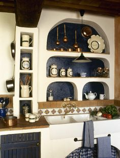 Rustic, country kitchen detail with curving niche shelving;Modern Moroccan Master Bedroom  Episode DOD-3106H =Make the niche f/m this episode(use background paper/fabric that coordinates with the mosaic table tile). Turn bedroom/kitchen idea to living room flair.
