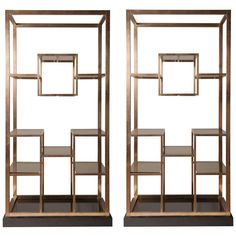 Stunning pair of brass Romeo Rega etagere, 1975, published | From a unique collection of antique and modern shelves at http://www.1stdibs.com/furniture/storage-case-pieces/shelves/