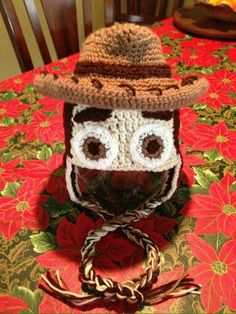 """'Woody"""" from Toy Story Pinner used a free patter for the Cowboy hat and then improvised the rest Crochet Kids Hats, Crochet Wool, Crochet Quilt, Crochet Beanie, Crochet Motif, Crochet Patterns, Crocheted Hats, Crochet Ideas, Kawaii Crochet"""