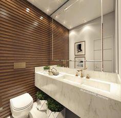 Banheiro com painel de madeira ripado