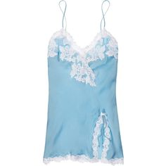 La Perla Maison silk-satin and lace chemise (1.530 VEF) ❤ liked on Polyvore featuring intimates, chemises, lingerie, pajamas, sleepwear, underwear, chemise, sky blue, tying neck tie and lace tie