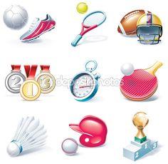 Vector conjunto de ícones de estilo dos desenhos animados. parte 34. esporte