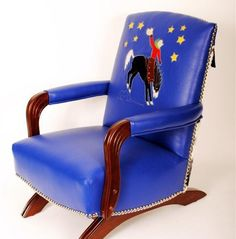 """I want this chair! Harriette Allison """"Will James Wanna-be"""" custom childs rocker 1 Funky Painted Furniture, Western Furniture, Painted Chairs, Custom Furniture, Vintage Furniture, Painted Tables, Modern Furniture, Furniture Design, Vintage Rocking Chair"""