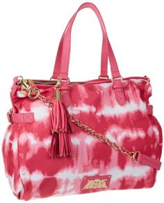 Juicy Couture Nylon Lauryn Zip Top Tote Pink Tie Dye