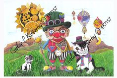 Time Travelling Clown Painting in Acrylic £95.00