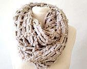 Cowl knit scarf, chunky knit scarf, keyhole scarf, neck warmer, scarves, outlander, infinity scarf, windowpane knit, open weave knit