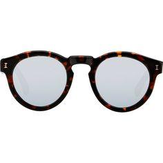 Illesteva Leonard Sunglasses (170 CHF) ❤ liked on Polyvore featuring accessories, eyewear, sunglasses, glasses, multi, tortoise shell glasses, round mirror sunglasses, illesteva sunglasses, mirror lens sunglasses and round glasses