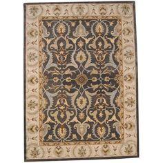 Herat Oriental Indo Hand-tufted Oushak Gray/ Ivory Wool Rug (8' x 11')