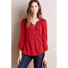 Meadow Rue Anona Tee ($68) ❤ liked on Polyvore featuring tops, t-shirts, wine, wine t shirts, lace top, red lace top, lace tee and lacy tops