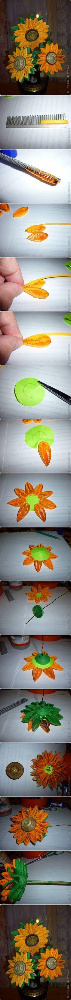 DIY Quilled Sunflowers | iCreativeIdeas.com Like Us on Facebook ==> https://www.facebook.com/icreativeideas girassol de papel
