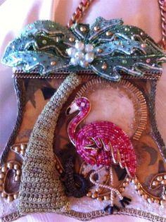 "A Mary Frances ""Pink Flamingo"" Designer Handbag, with intricate beading throughout."