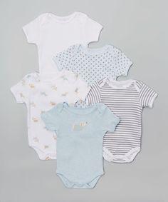 Another great find on #zulily! René Rofé Baby Blue & Gray Puppy Bodysuit Set - Infant by René Rofé Baby #zulilyfinds