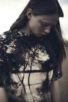Photographic landscape printed dress; nature-inspired fashion // Leonneke Derksen FW14