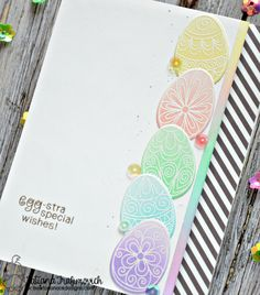 Pastel Easter Egg card by Tatiana. Beautiful Spring stamp set & coordinating die set by Newton's Nook Designs #newtonsnook