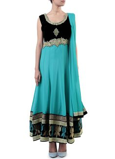 Teal Blue Georgette Anarkali Suit
