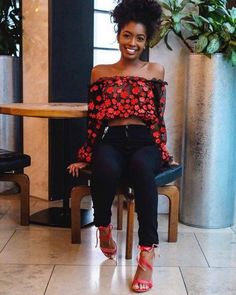 See thru long sleeve floral crop top, fitted jeans, red sandals