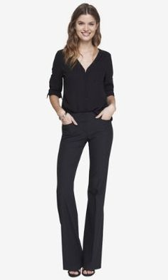 Like their pants. textured dot wide waistband flare editor pant from EXPRESS