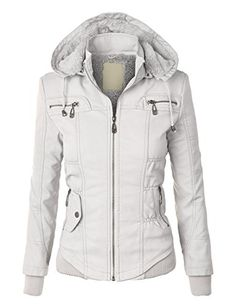 50% OFF SALE PRICE - $19.95 - LL Womens Faux Leather Zip Up Bomber Jacket with Hood