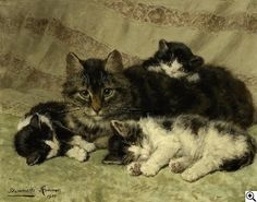 ¤ Henriette Ronner-Knip 1821 Amsterdam - 1909 Brüssel Vier Katzen Katzenmutter mit Kitten. Une chatte et ses trois chatons