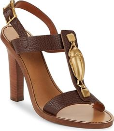 """VALENTINO GARAVANI Women's Shoes in Chocolate Color. Leather crafted pair set on chunky stacked heels. Stacked heel, 4.5"""" (114.3mm).Leather upper. Open toe. Ankle-buckle closure. Leather lining and sole. Made in Italy. Valentino sizing runs small. For best fit, order 1/2 size up. #VALENTINOGARAVANI #chocolate #shoes #fashion #style"""
