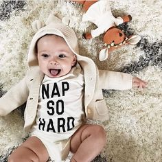Looking so darn cute in her NAP SO HARD onesie!  @nikkihofmeister  spearmintLOVE.com