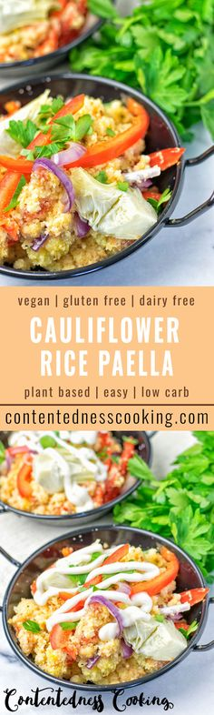 My Cauliflower Rice Paella is bursting with fresh tomatoes, artichokes, bell pepper, and a pinch of saffron. An outstanding vegan recipe that is also gluten free, and a great low carb take on classic flavors.