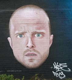Portrait of Breaking Bad's Jesse Pinkman by AKSE - done at Blank Media gallery (Hulme, Manchester)