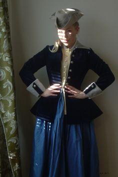 century riding habit navy blue velvet jacket by merineiti Riding Habit, 18th Century Dress, Side Saddle, Renaissance Fashion, Velvet Jacket, Marie Antoinette, Rococo, Blue Velvet, Beautiful Horses