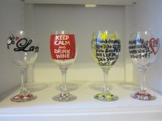 Hand painted wine glasses I made for my best friend's 21st birthday using just paint pens, clear glass paint, and my printer!
